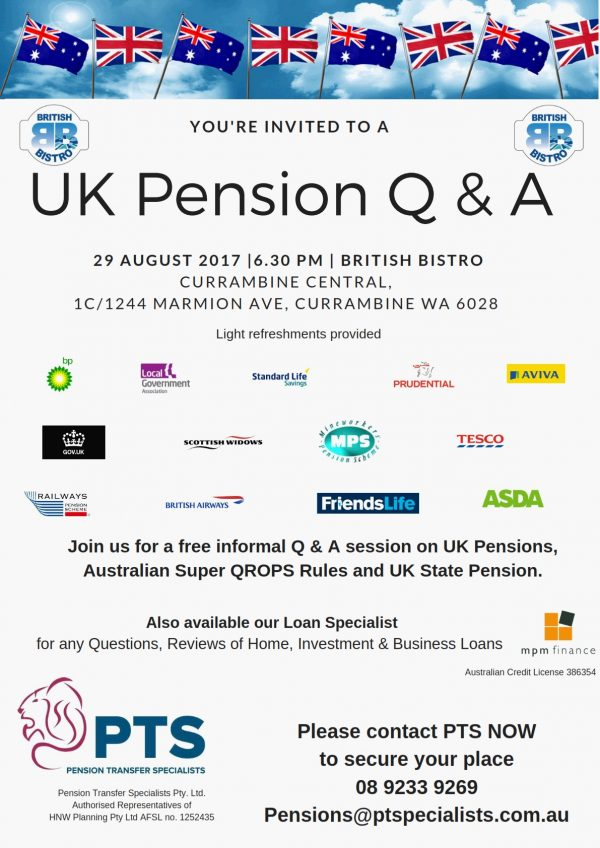 SOLD OUT! – UK Pension Q & A — Tuesday, 29 August 2017 6:30pm