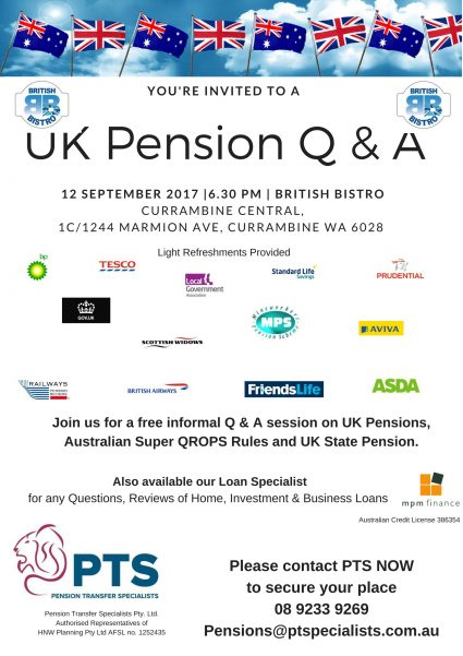 UK Pension Q & A — Tuesday, 12 September 2017 6:30pm